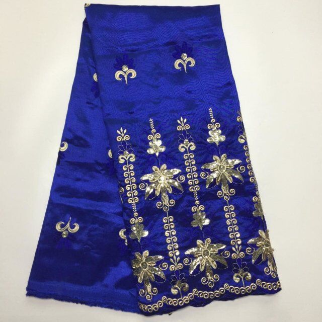 Fashion Royal Blue Indian George Fabrics 2017 High Quality African George Fabric With Guipure Handcut Sequins George Lace