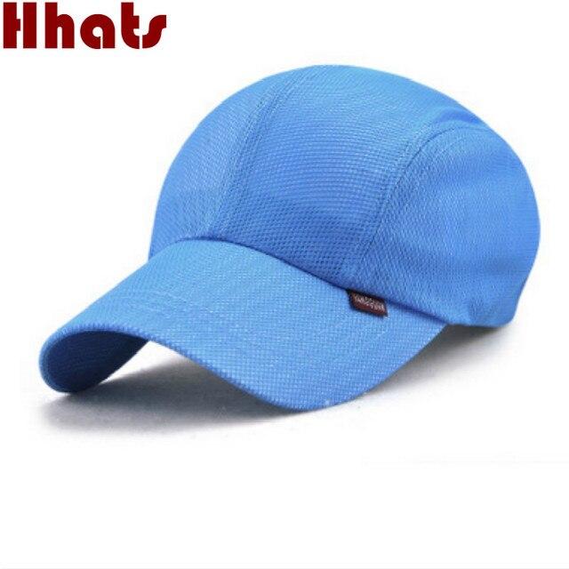 Poliéster liso malha cap verão cor sólida mulheres casuais boné de beisebol  respirável dos homens em 035e5093f92