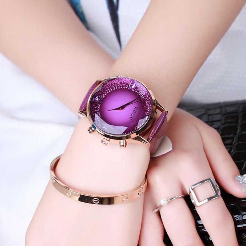 GUOU Reloj Mujeres Exquisito Top Lujo de Diamantes Señoras Reloj de Cuarzo de Moda Reloj de pulsera de Cuero relojes de Las Mujeres relogio feminino saat