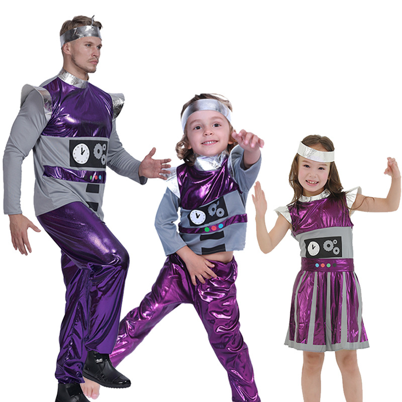 Halloween party cosplay adult boy girl robot costume for kid children purple grey robot dress clothes