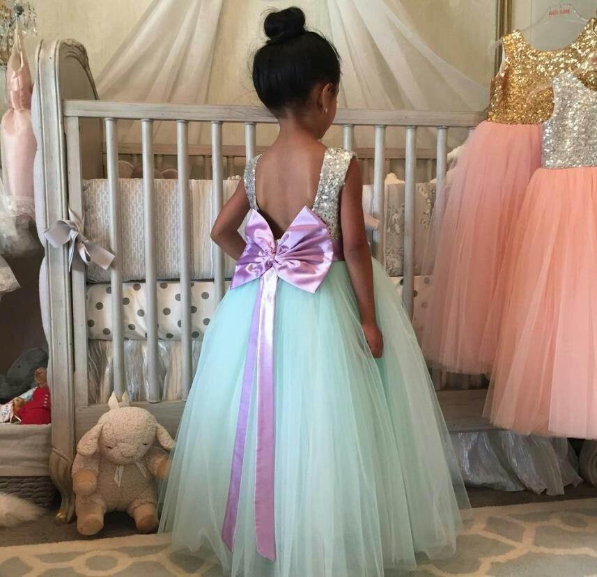2017 Spring Summer New Girl Princess Dress Big Bow Silver Sequins 3 Layer Gauze Fluffy Dress