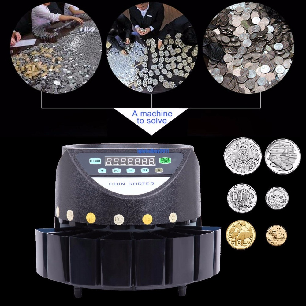 Led Display Digital Automatic Electronic Counter Coin Money Cash Sorter Machine electronic coin sorter se coin counting machine for most of the countries tl 906 coin sorter