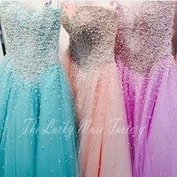 Modest Pearl Beaded Sweetheart Ball Gown Prom Quinceanera Dresses Corset Girl Prom Party Gowns Cheap Long 15 Year Old Dresses