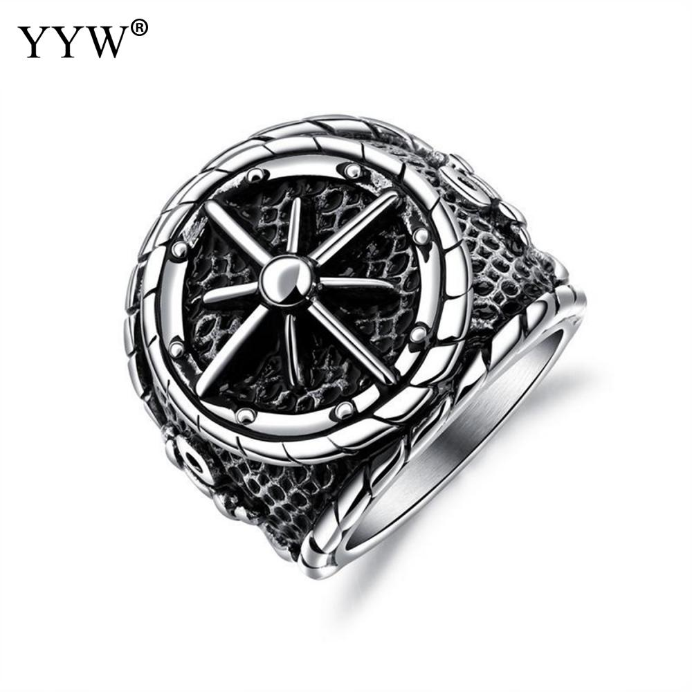 Titanium Steel Finger Ring Cross Star Punk Hip-Hop Ring Antique Charm Jewelry Ring For Man Decoration Fashion Jewelry