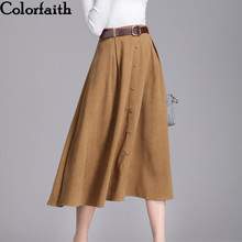 Colorfaith New 2018 Suede Women Long Midi Skirt Autumn Winter Ladies Vintage Belt Buttons Skirt High Waist Femininas SK6679