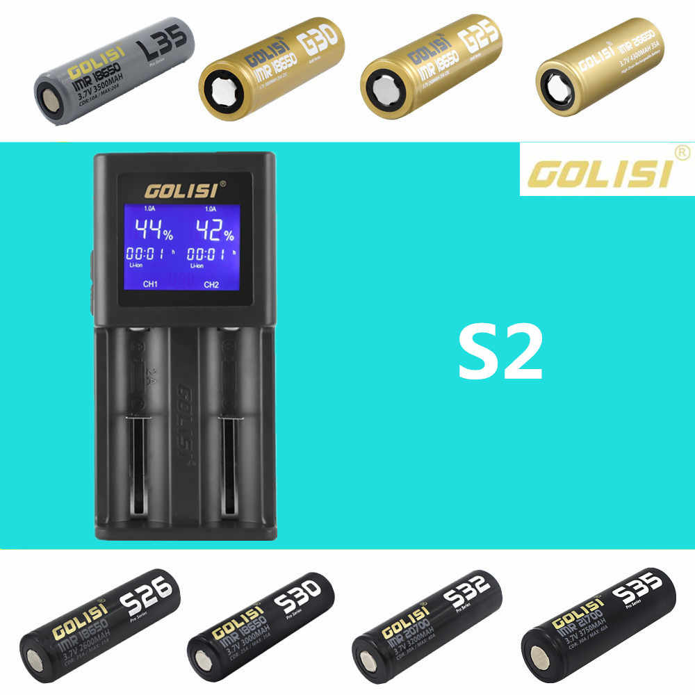 Golisi S2 S4 S6 البطارية الذكية LCD شاحن شحن ل 18650 21700 26650 ليثيوم أيون متولى حسن ني المضغوط AAA AA بطاريات الساخن بيع