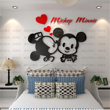 Classic cartoon 3D stereo Acrylic crystal wall stickers Mickey mouse Nursery Children Bedroom Kids rooms sticker Diy Home decor