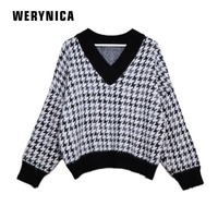 Werynica New Fashion Winter Sweaters Woman Vintage Loose Plaid V neck Pullover Warm Cashmere Sweater Female Casual Jumpers