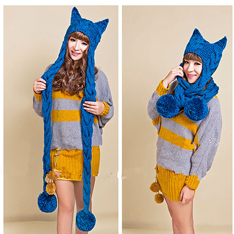 New Women s Thick Cable Handmade Knitted Beanie Cat Ears Warm Hat Scarf
