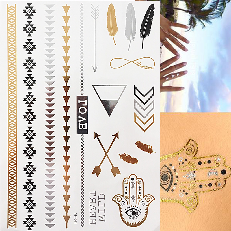 Us 0 99 Flash Tattoo Metallic Silver Gold Triangle Angel Wings Henna Tattoos In Temporary Tattoos From Beauty Health On Aliexpress Com Alibaba