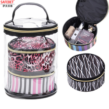 ФОТО safebet brand 3pcs fashion pvc cosmetic bag transparent bag  organizer travel multifunction waterproof beauty makeup bag