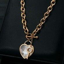 Venta caliente Concha Blanca Corazón Con Clave de Color Oro/Plata/Oro Rosa de Color de Acero Inoxidable Collares