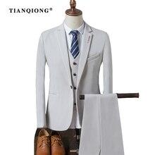 TIAN QIONG Men 2017 Autumn Slim Fit Wedding Suits for Men 3 Piece Jacket Pants Vest Suit Black Blue White Red Mens Formal Wear