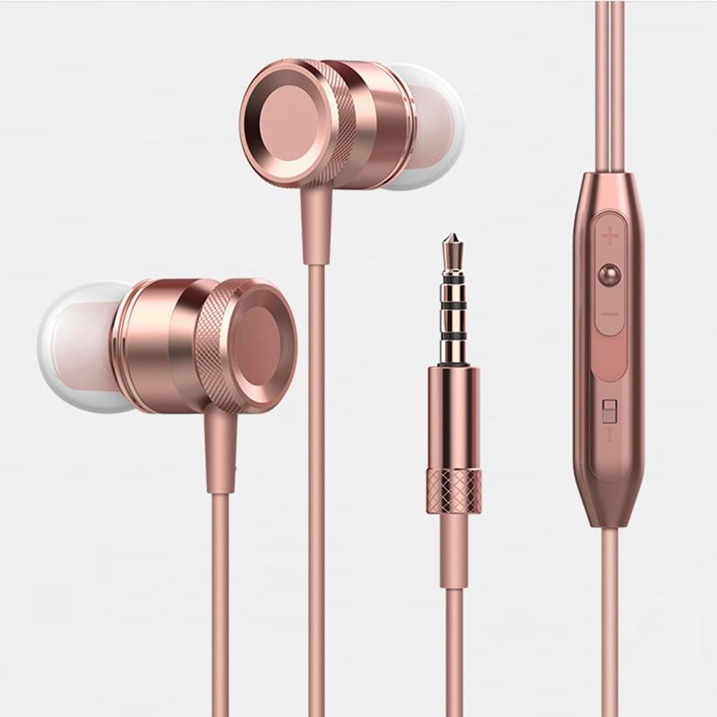 Fone De Ouvido estéreo No Ouvido de Metal Fone De Ouvido Handsfree Fone de Ouvido com Microfone 3.5 milímetros Auriculares Para Todos Telefone MP3 Jogador