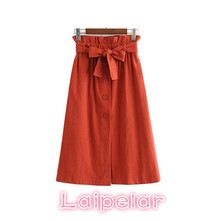 Women elegant bow tie sashes skirt A line pleated front split pockets chic mid skirts womens dot button summer high waist skirt