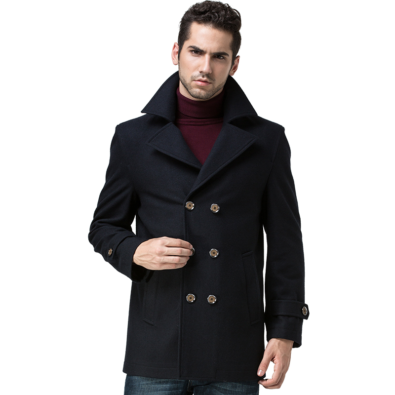 Mens Long Wool Pea Coat Q6o2zZ