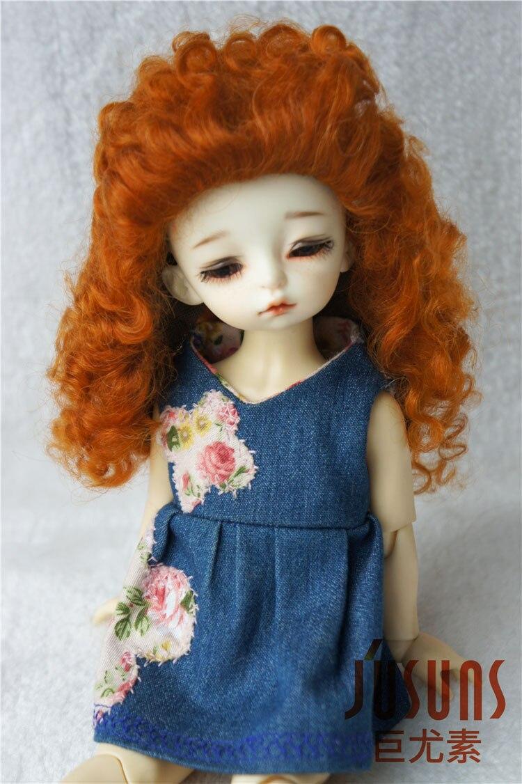 JD175 yosd  mohair doll wigs 1/6 Long curly  mohair BJD wig  6-7inch doll accessories 1 6 yosd bjd wig guyomi mohair wig 6 7inch doll accessories