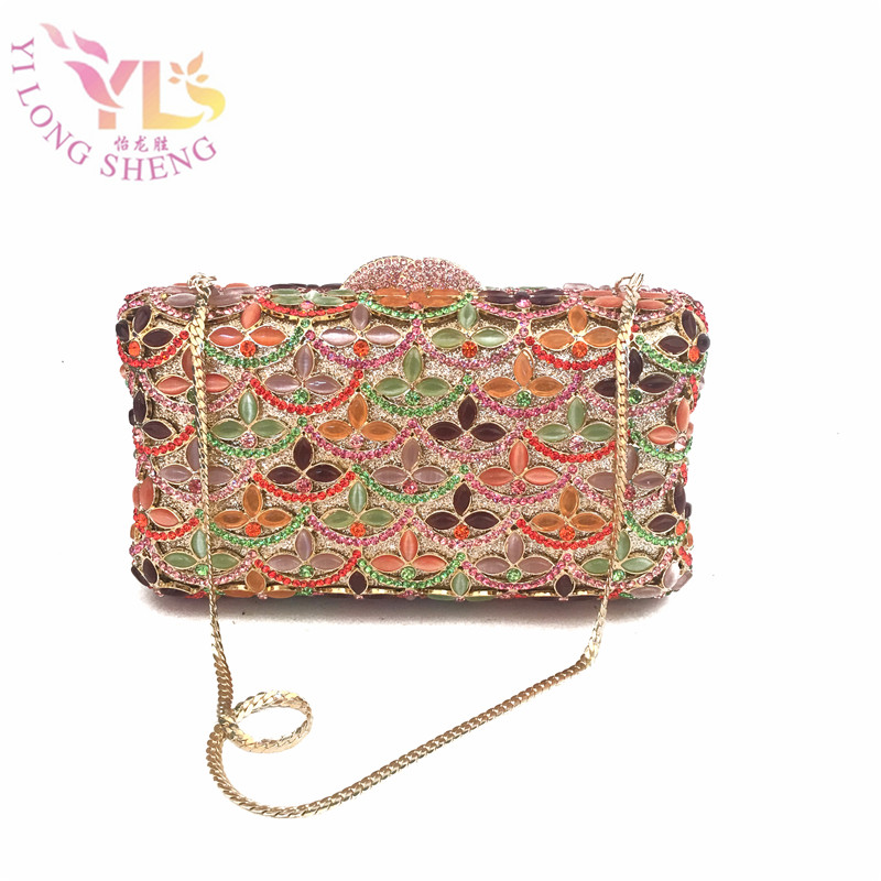 Luxury Little Flowers Gold Gem Mosaic Minaudiere Box Case Diamonds Lady Event Evening Clutch Bag Designer Day Clutches YLS-J02 the little old lady in saint tropez