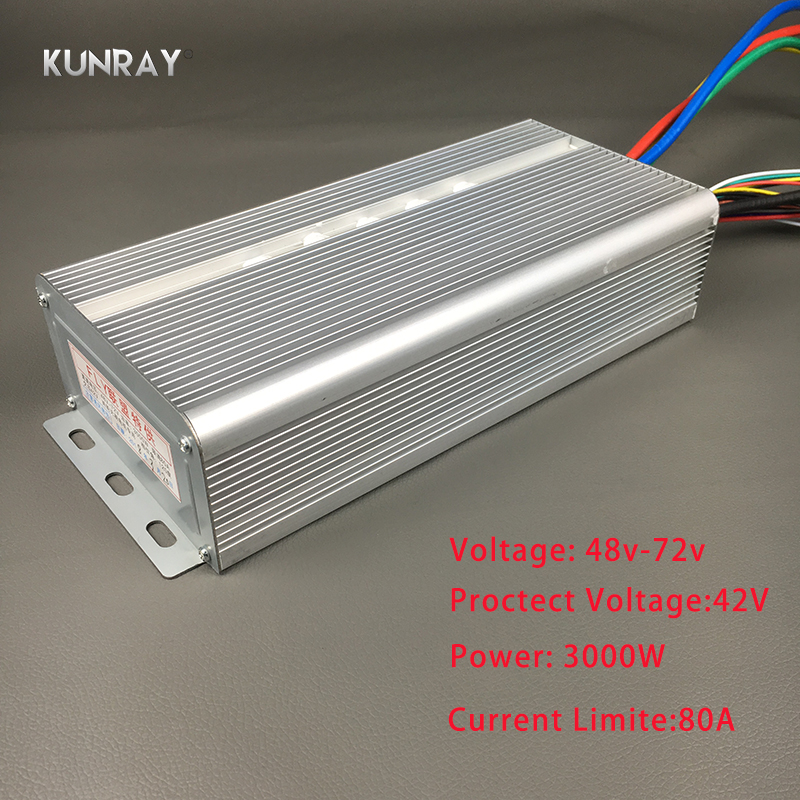 KUNRAY BLDC 42V   72V 3000W Brushless Motor Speed Controller 80A 24Mosfet 120Degree Phase With Sensor Hall For Electric Bike A13|Electric Bicycle Accessories| |  - title=