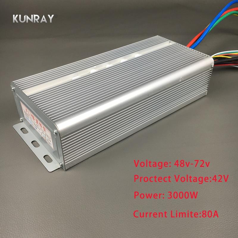 Kunray BLDC 42 В-72 В 3000 Вт безщеточный Скорость контроллер 80A 24 Mosfet 120 градусов фазы с Сенсор залом для электрических велосипед A13