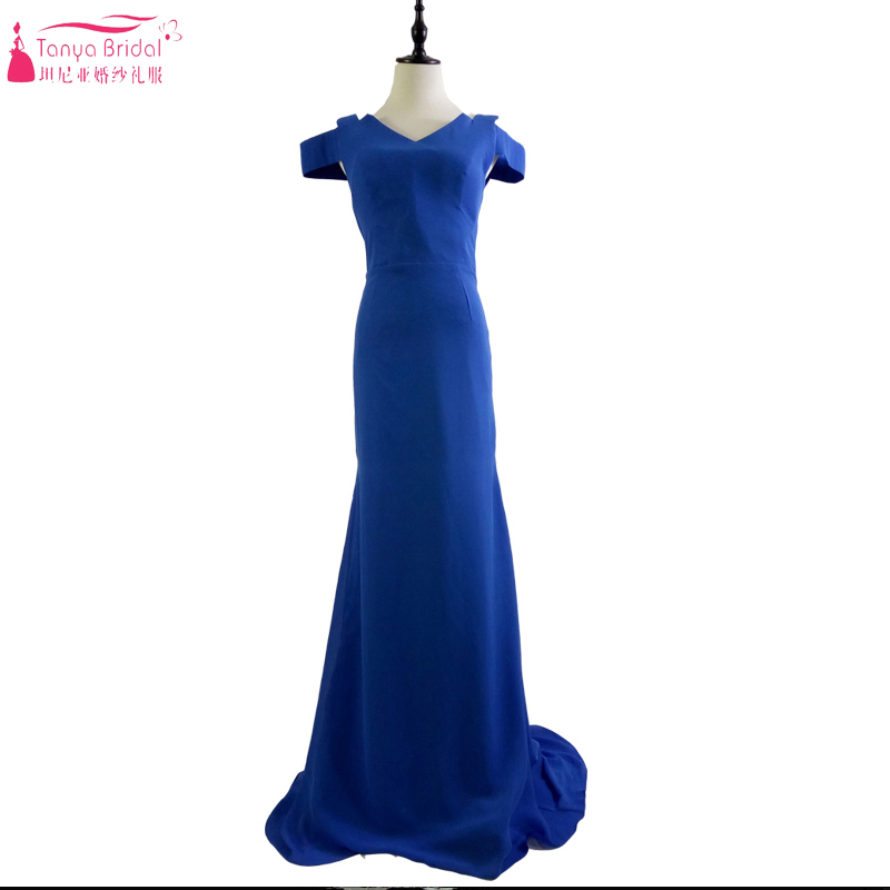 Royal Blue Mermaid Off The Shoulder Prom Dresses Floor Length Simple Cheap Formal Gowns Ceremony Dress