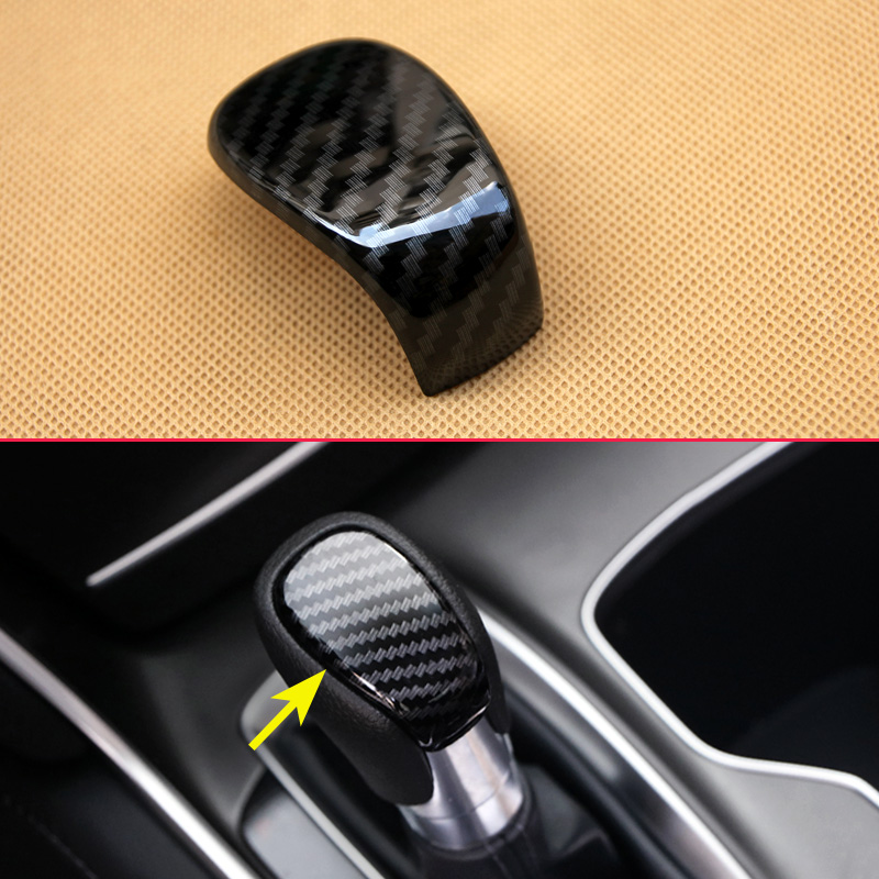 Black Carbon Fiber Look Finer Cover For 10th Honda Accord Car Gear Shift Knob Automatic Transmission Touch Panel Accessories