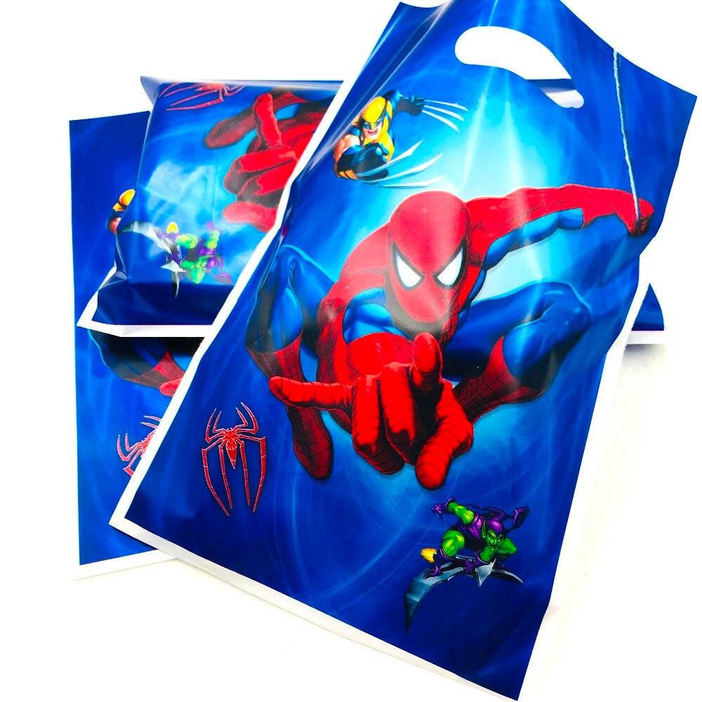 Принадлежности для тематической вечеринки «Человек-паук», Подарочная сумка для детской вечеринки, декорированная сумка для хранения печен...