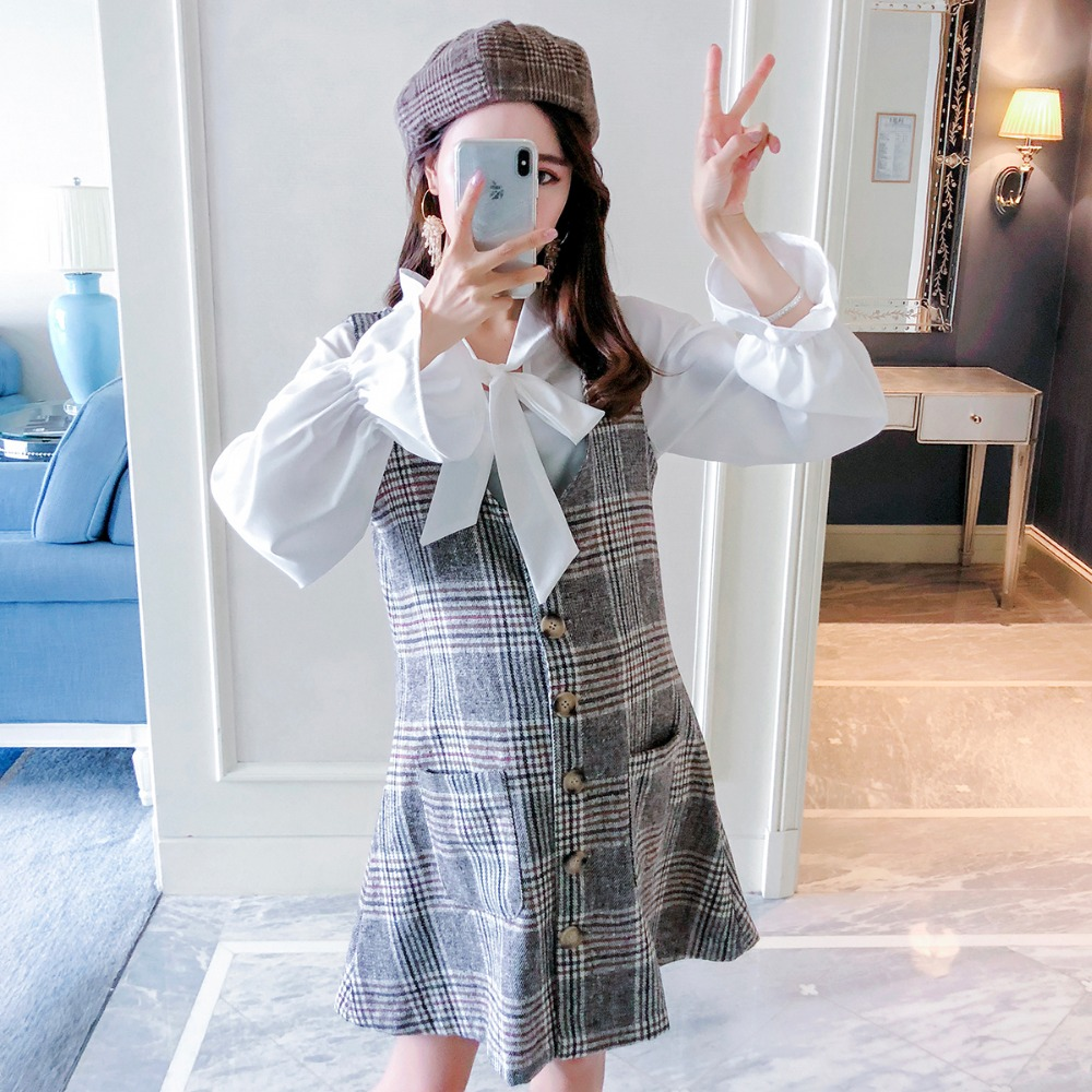 Pregnant women autumn suit fashion models 2018 new fashion plaid vest skirt loose temperament two-piece women fashion sexy lady schoolgirl cosplay sleepwear plaid night super mini pleated skirt short skirt