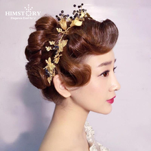 Himstory Vintage Bridal Hairband Wedding Tiara Crown Gold Butterfly Leaf Black Headband Baroque  Dress Accessories