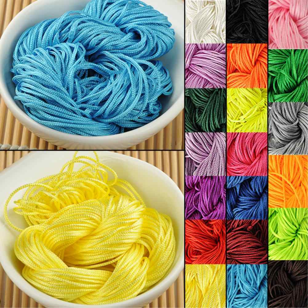 Cheap Hot Sale 19 Colors Nylon Cord Thread Chinese Knot Macrame Rattail 1mm*22M Shamballa Rope For DIY Bracelet Braided