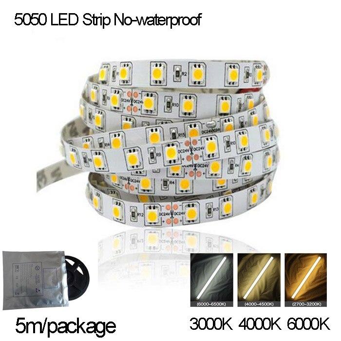 High Brightness White LED Strip 5050 12V No-waterproof 3000K,4000K,6000K,Available,5m/Box , Free Drop Shipping