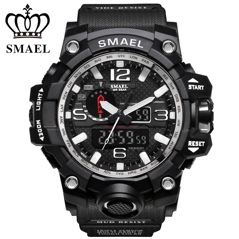 SMAEL Official Store New Luxury Brand Men Sports Watches Military Dual Time Digital LED Quartz Watch Wristwatch Relogio montre homme Men Gift WS1545