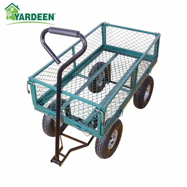 Yardeen Steel Wagon Garden Cart With Removable Sides Heavy Duty Outdoor  Large Garden Trolley Load Capacity