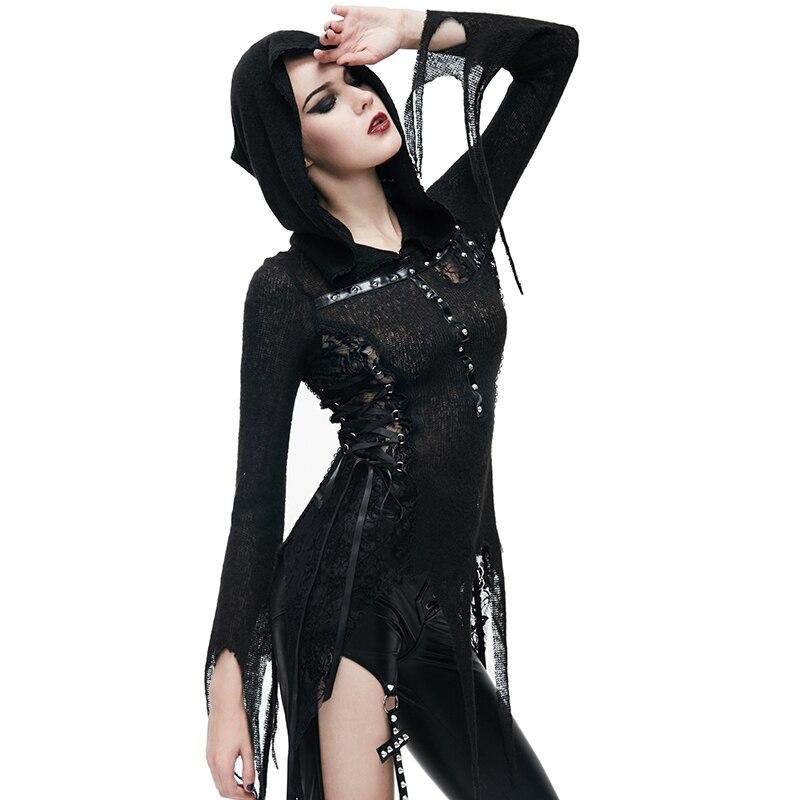 Steampunk femmes noir Sexy Rivet avec à capuche à manches longues T shirts printemps automne mode moulante mince haut pour femme t shirt