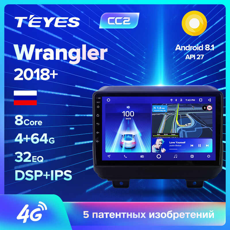 TEYES CC2 For Jeep Wrangler 4 JL 2018 2019 Car Radio Multimedia Video Player Navigation GPS Android 8.1 No 2din 2 din dvd
