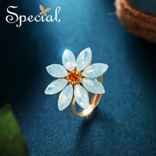 Special Lovely Flower Rings Cartoon Adjustable Trendy Opal Party Jewelry Gifts for Women S1801R