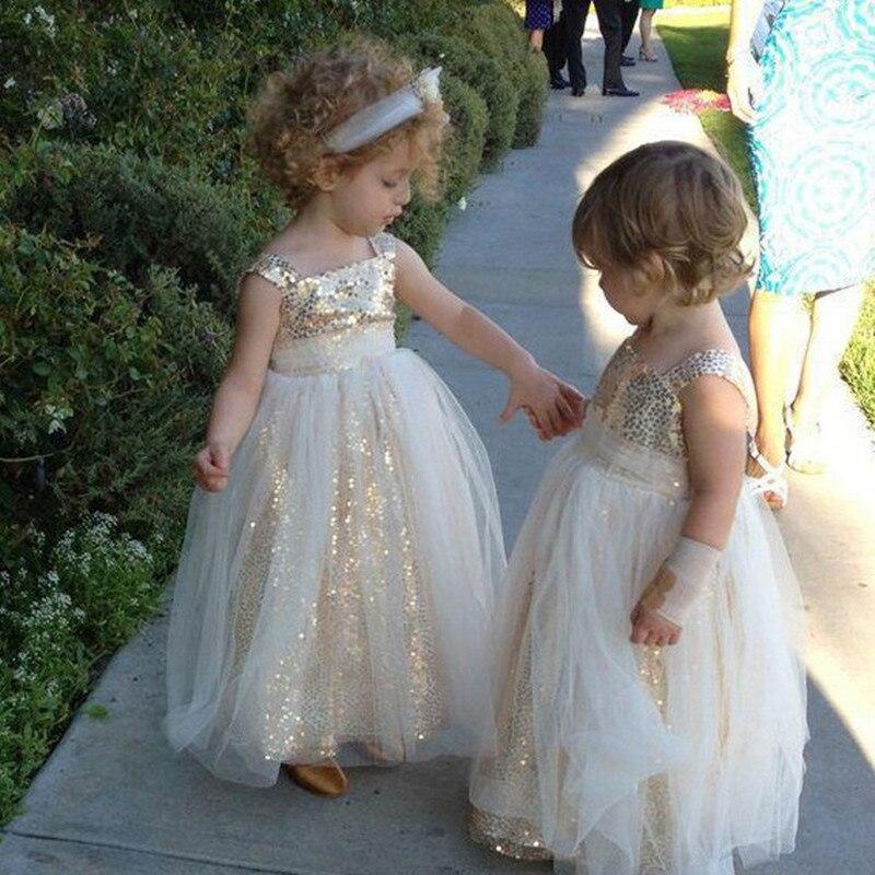 Sparkly A-line Gold Sequins Long   Flower     Girl     Dress
