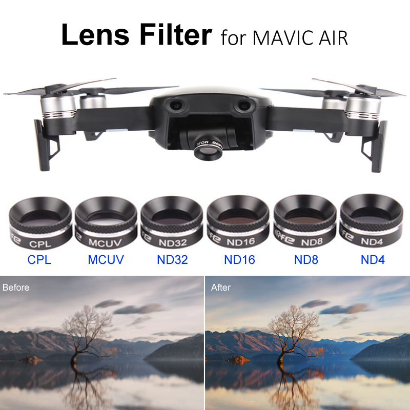 DJI Mavic Air Lens Filters Kit Multifunctional Lens Filter MCUV CPL ND4 ND8 ND16 ND32 Filter Sunhood For DJI MAVIC AIR Free Ship