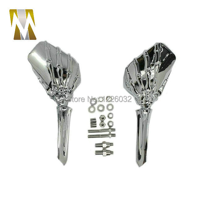 ФОТО Chrome plate Big Skull Side Rear View Mirrors Fit For Harley Sportster Dyna Softail Fatboy Electra