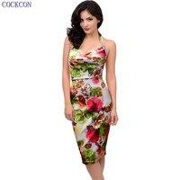 COCKCON 2017 Топ Мода Для женщин swear Платья для женщин Для женщин новые летние Холтер Цветочный принт оболочка империи талии похудения Bodycon