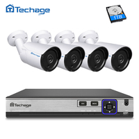 Techage HD H 265 4 0MP POE Security Camera CCTV System 4CH NVR Kit 4PCS Outdoor