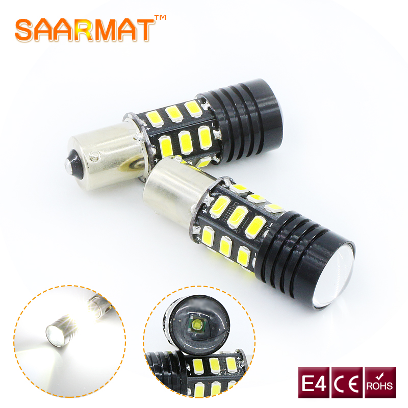 2 x  1156 P21W BA15S lamp Error Free Canbus For CREE Chips +SAMSUNG chips LED Bulb Backup Reverse Lights For Skoda Octavia Yeti ruiandsion 2x75w 900lm 15smd xbd chips red error free 1156 ba15s p21w led backup revers light canbus 12 24vdc