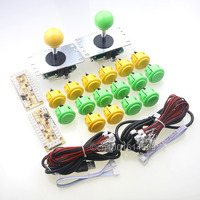 Arcade DIY Kits Parts Sanwa Fighters Push Button + Sanwa Rocker Cable + Encoder Board For Coin Operator Cabinet Yellow + Green