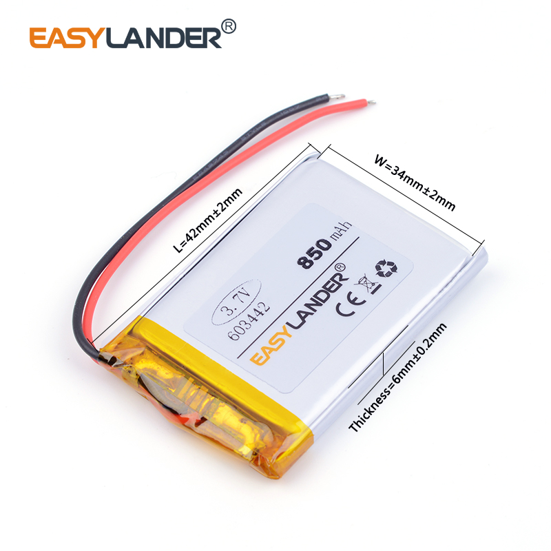 603442 063442 3.7V 850mAh Lithium polymer battery rechargeable lipo battery Watch PDA toys battery pack medical device 603443