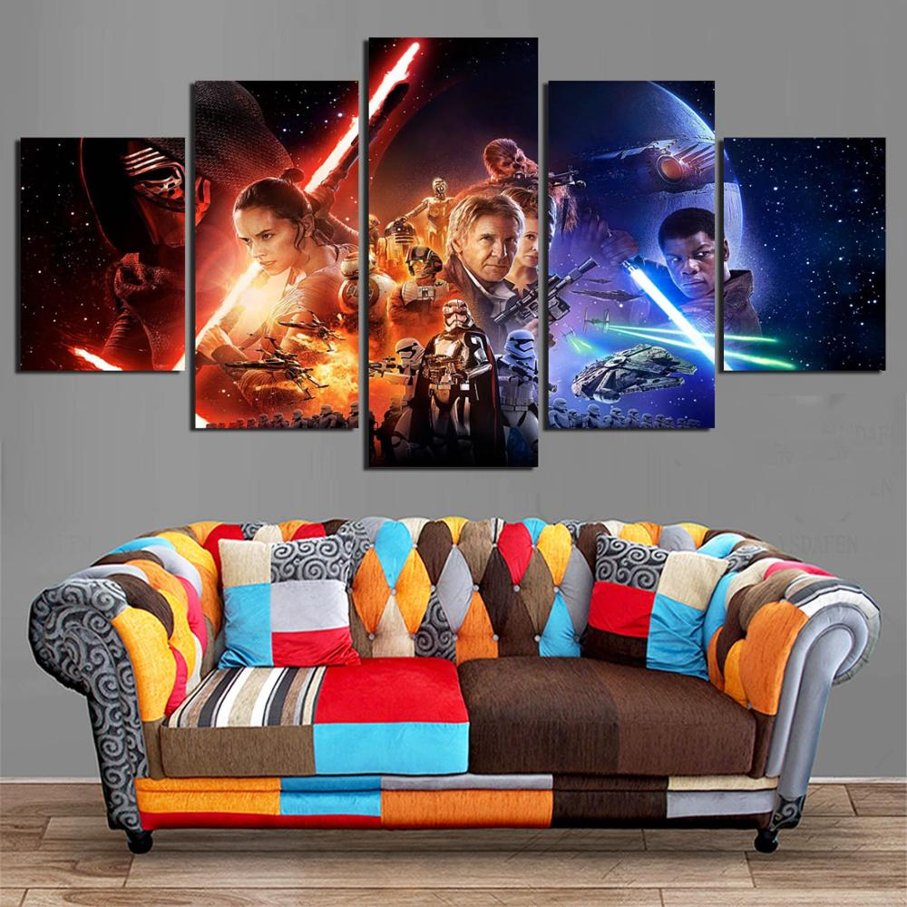 Popular Movie Poster Star Wars 5 panels Wall Art for Living room wall HD Print Picture Modular Battlefield YK-442 1