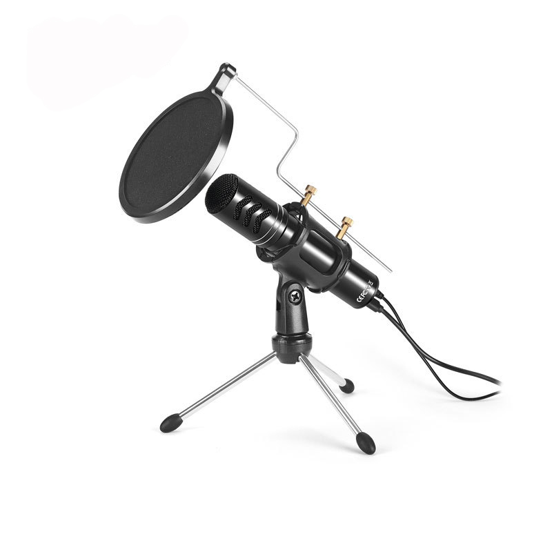 AK-8 USB Microphone Drive Free Computer Game Professional Microphone Built In Sound Card Studio Audio Sound Recording Microphone