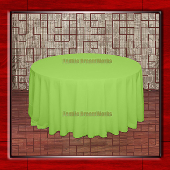 108R Lime Green 210GSM Polyester plain Table Cloth For Wedding Events & Party Decoration(Factory Direct Sales)