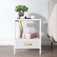 Lifewit High Quality 2-tier Modern Square Side End Table Night Stand Coffee Table White With Drawer Furniture
