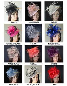 12 colors Sinamay fascinator hat veiling wedding party