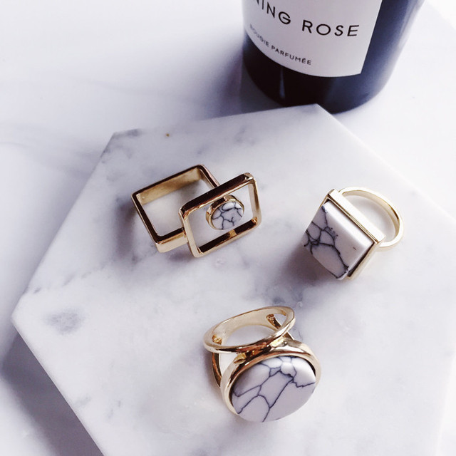 2017 New Arrive Minimalist Geometric Finger Ring Personality Marble Lines Round